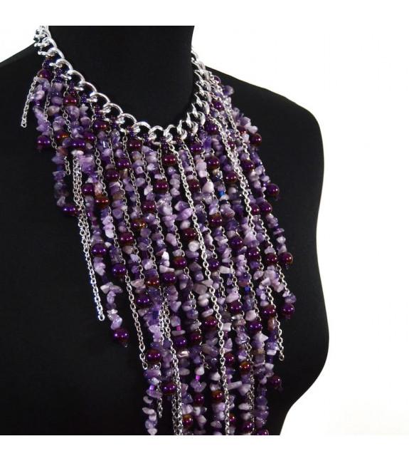 Collar Petri cascada lila