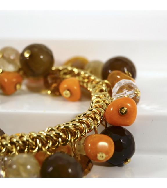 Pulsera piedras variadas marron
