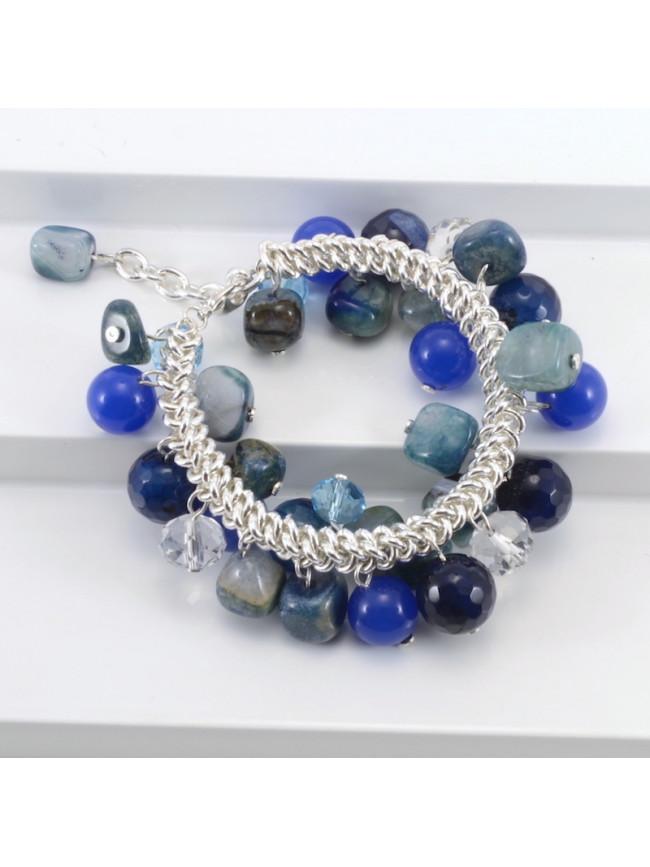 Pulsera piedras variadas azul