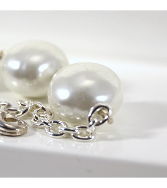 pulsera trio perla plata