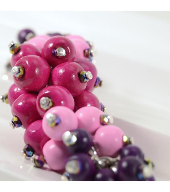 Pulsera Racimo Madera rosa