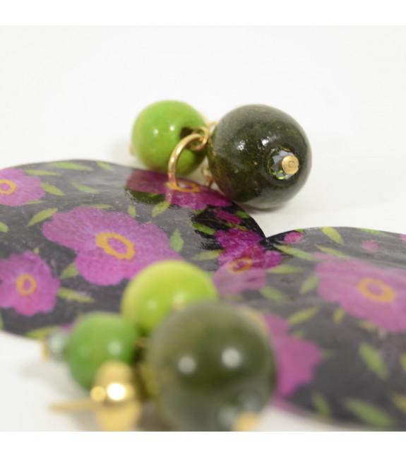 Pendientes Nacar floreado verde