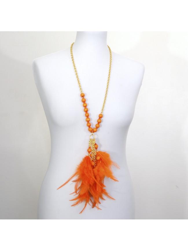 Collar Largo plumero naranja