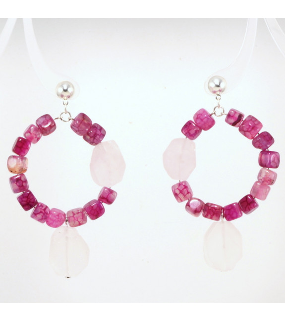 Pendientes Aro Combinado rosa