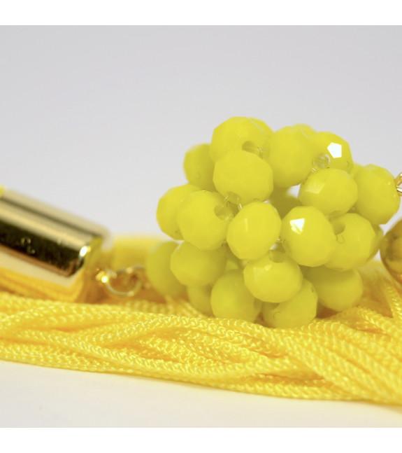 Pendientes Esfera con flecos amarillo